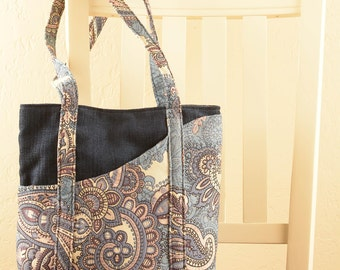 Blue Paisely Tote