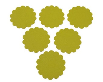 24 2 inch Scallop Circle, Die Cut Paper Circles, Green Paper Rounds, Gift Tag, Cupcake Toppers, Scrapbooking, Embellishments