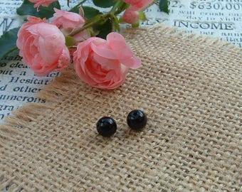 Set of 3 black ONYX 6 mm round shape beads