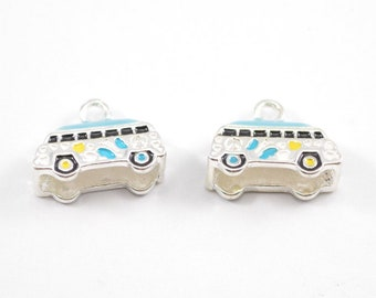 10pcs - Multicolor Enamel Van Charms - 16mm x 12mm - Bulk - Wholesale - Bracelet Charms - WB42