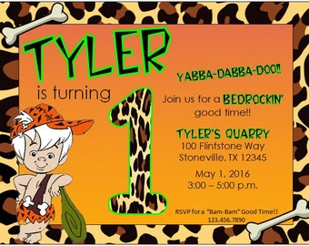 Flintstones Bam Bam Bedrock Birthday Invite. Flinstones Shower. Bam Bam Shower. Pebbles Shower. Yabba Dabba Doo.
