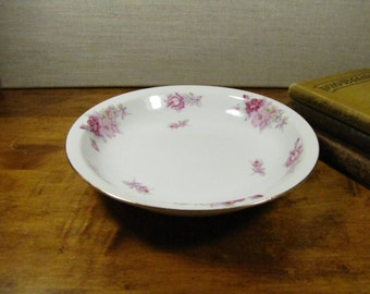 Hira China - Bradford -  Coupe Soup Bowl - Pink Roses - Lavender and Green Leaves - Gold Accent - Made in Occupied Japan
