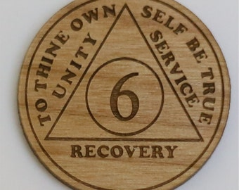 Two-Sided AA Chip (Token, Medallion) Laser Engraved Alder Wood