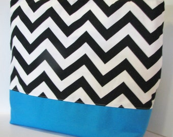 Chevron Tote Bag . Black with Turquoise . chevron Beach bag . Standard size . monogramming available