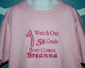 Back To School T-shirt - Custom Girls 1st Grade Tshirt - School Spirit Shirts - Gift for School Child - School Supplies - School Shirts