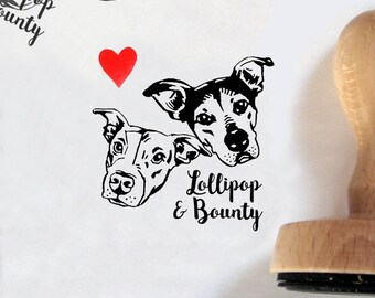 Personalized gift for pet lovers Custom pets portrait stamp Dogs Cats Pet / couples portrait / self inking / wedding graduation birthday