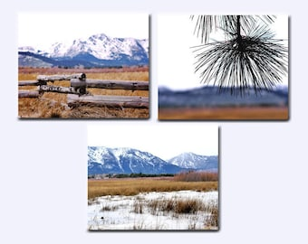 Blue mountain wall art canvas set of 3, nature gallery wall set, rustic home decor, navy blue bronze living room bedroom 3 piece wall art