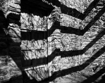 Door and Shadows, Mission San Jose, San Antionio, Black and White Fine Art Photography