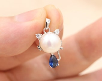 White pearl pendant, freshwater pearl s925 sterling silver pendant,cat pearl necklace,L-BM-0555