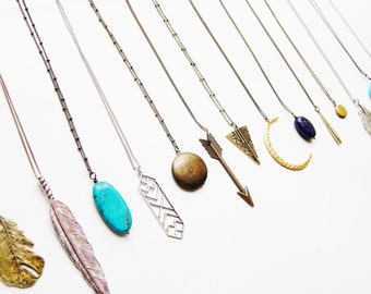 2 Layered Necklaces, Boho Jewelry, Long Layered Necklace, CHOOSE 2 NECKLACES Tibal Feather Necklace, Layering Necklace Tribal Necklace