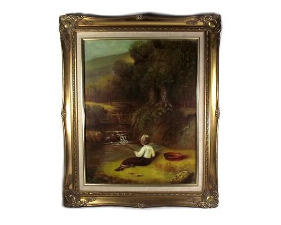 Large Gilt Framed Mid Century Oil Painting
