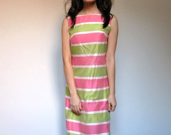 1960s Striped Maxi Dress Spring Party Dress Long Lime Pink Ivory Maxi. Extra Small. Small. XS/ S