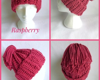 Raspberry Chunky Crochet Hat