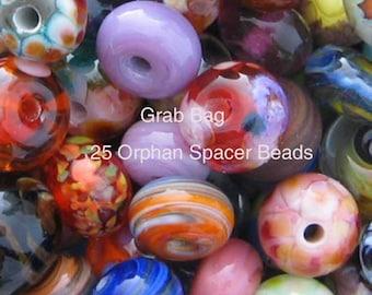 LAMPWORK 25 Orphan Grab Bag Spacer Beads Lot sra