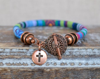 Boho Single Wrap Cross Charm Bracelet