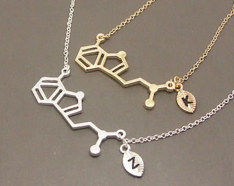 DMT Necklace, Personalized Initial Necklace,Chemistry Necklace, Graduation Necklace,Science Necklace, Bridesmaid Necklace SC015