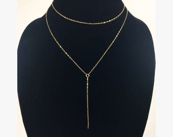 Dainty Lariat Necklace - 14k Gold Filled