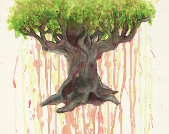 Bleeding Tree of Life multimedia watercolor/paint original prints