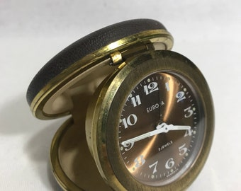 Alarm clock vintage EUROPA 2 Jewels Metal brass + Brown Vintage Leather travel
