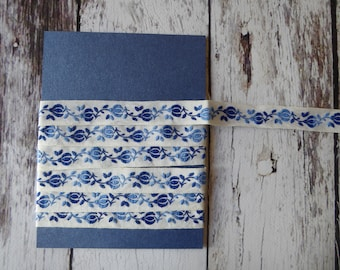 Embroidered blue and white jacquard ribbon trim 1.5 metres 1.6 cm wide