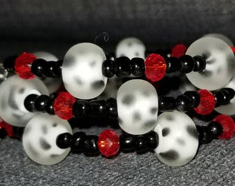 Dalmation bracelet/Memory Wire/One Size Fits Most/Red/Black/White/Spotted