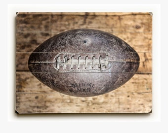 Football Gifts, Gift for Football Coach, Football Sign, Vintage Football on Wood Planks, Wood Plank Football Art, 1940s Football Picture.