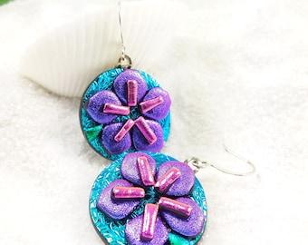 Dichroic earrings, Sakura blossom earrings, Hana Sakura, Glass fusion, flower jewelry, Cherry Blossom Jewelry, Fused glass jewelry, handmade