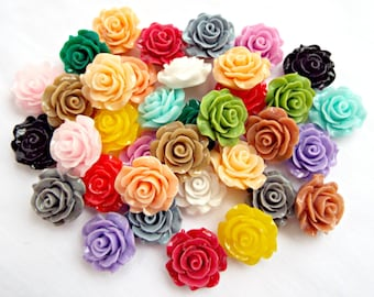 100 Flower Cabochons, 20mm Rose Cabochons, Mixed Colors, Flatback Cabochon, Resin Deco Cabochon, Craft Supplies, Jewelry Supplies, UK Seller