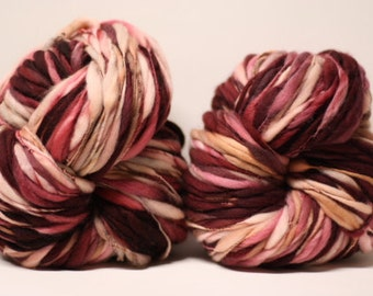 Merino Thick and Thin Wool Yarn Bulky Hand Spun Wool Slub  Hand Dyed tts(tm) Self-Striping LR1618