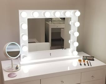 Dimmable XL Grand Hollywood Impact Lighted Vanity Mirror FREE LED bulbs w/ Sliding Dimmer & Dual Outlets