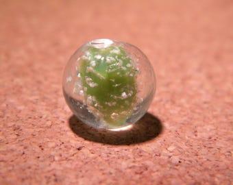 3 beads 12 mm - phorphorescente glass lampwork handmade hand-glow-pistachio-PE257-4