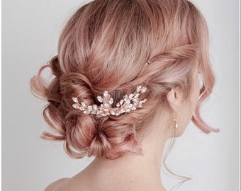 Bridal Hair Comb Rose Gold, Bridal Hairpiece, Crystal Bridal Headpiece, Rose Gold Bridal Hair Comb