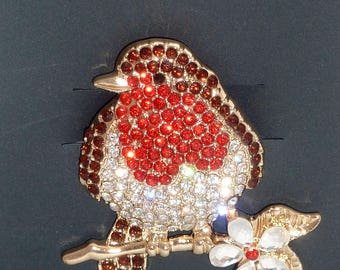 Stunning Robin Red Breast Mothers Day Diamante Brooch Pin makes a great gift Mum Sister Aunty Nan