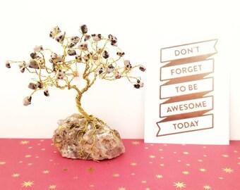 Jasper Gemstone Trees, Dalmation Jasper, Wire Tree Sculpture, Gold Wire Tree, Cute Desk Accessories, Wire Tree of Life, Small Tree Sculpture