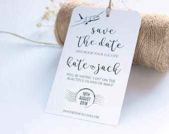 SAMPLE, Save the Date Tag, Save the Date Luggage Tag, Rustic Save the Date Card, Rustic Wedding Tag, Destination Wedding Save the Date
