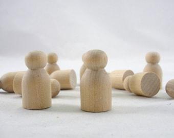 Wooden baby mini peg people unfinished DIY set of 20