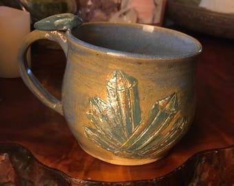 Gem mug with thumb rest handmade pottery