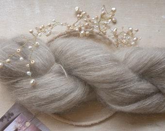 Kid silk mohair garen / plant geverfd / engel debbie bliss / geverfd met walnoot / natuurlijk geverfd garen / 027