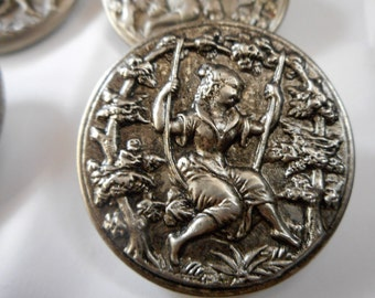 Large VINTAGE Girl on a Swing Silver Metal BUTTON