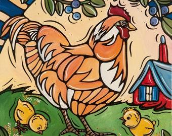 Chicken Art - Nursery Decor - Chicken Kitchen Decor - 5x7 Kids Bedroom Illustration - Children's Art - Chicken Home Decor