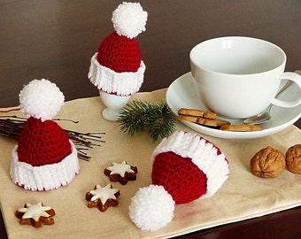 "PDF: Egg Cozy ""Christmas Hat"" Crochet Pattern"