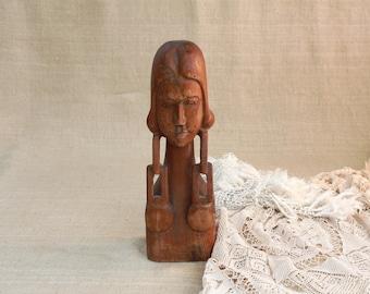 Vintage Statue, Wooden Statue, Vintage Figurine, Wood figurine, Wooden statuette, Woman Statue, African statue, Handmade statue, collectible
