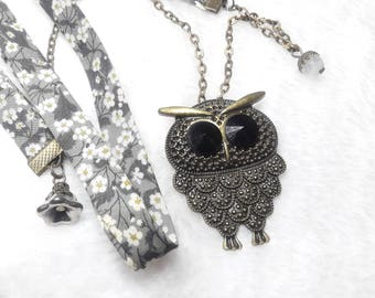 Liberty Mister Owl grey & white necklace