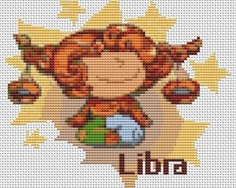 Libra Cross Stitch Kit, Astrology Cross Stitch, Zodiac Cross Stitch, Embroidery Kit, Art Cross Stitch, Zodiac Series