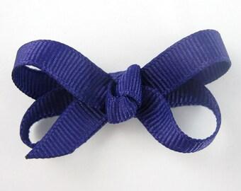 Baby Hair Bow Dark Purple - newborn hair bows - baby hair clips - toddler hair bows - small hair bows - 2 inch infant hair bows snap clips