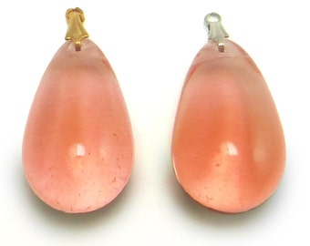 Peach Glass Bead Teardrop Large Vintage Czech Tear Drop Pendant Bead B-225