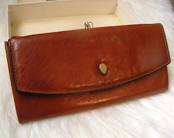 Streamline Vintage Brown Calfskin Leather Princess Gardner Wallet ~ Original Box