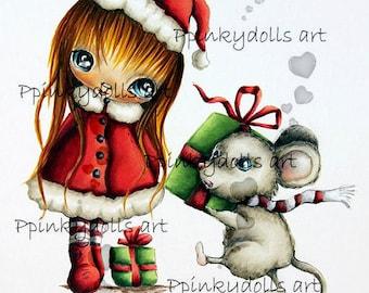 INSTANT DOWNLOAD Digital Digi Stamps..by Chrishanthi's art,Christmas gift''.