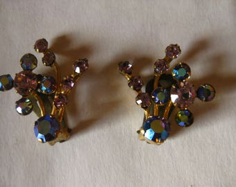 Clip On Blue Botanical Earrings Northern Lights
