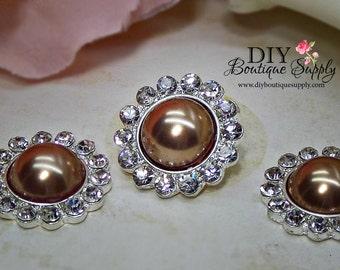5 pcs 21mm BRONZE Pearl Rhinestone Buttons Metal Embellishment Headband Supplies Crystal flower centers 463045